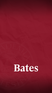 White Bates wordmark over garnet background
