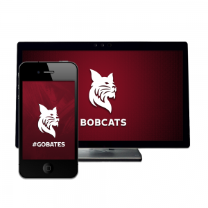 Mobile phone and desktop computer monitor with Bates Bobcats wallpaper