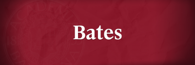 White Bates wordmark over garnet background