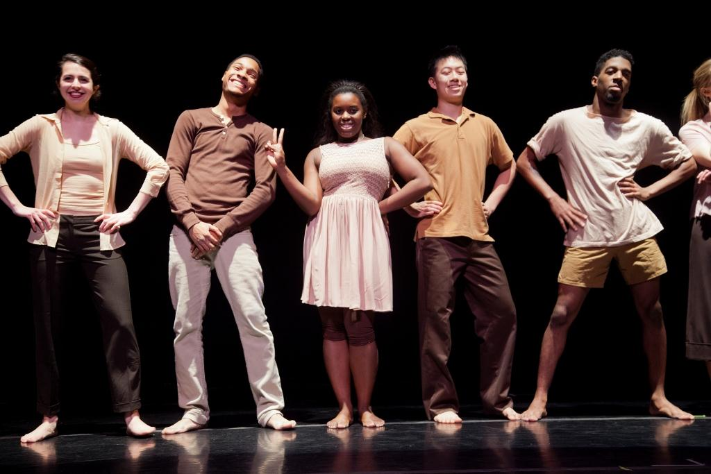 "Bates? Fall Dance Concert brings together a wide range of styles, representing choreographers from across the country and here in Maine, in performances at 5 p.m. Saturday, Nov. 10; 2 p.m. Sunday, Nov. 11; and 7:30 p.m. Monday, Nov. 12.The performances take place in Schaeffer Theatre. This dress rehearsal was held on Friday, Nov. 9, 2012.On the program for the three performances, in order of dress rehearsal:""Subverting Normal: Ensemble #2,"" choregraphed by Tiffany Rhynard in collaboration with the dancers;  The 1953 piece ?Tensile Involvement? by modern-dance master Alwin Nikolais;""Rasta Is a Conception,"" choreographed by Debi Irons;""Shadow Game,"" choreographed and performed by Rachel Boggia;""Rhythm-N-Roots,"" choreographed by Robin Sanders    New hip hop and modern choreography by guest artists Robin Sanders of San Antonio, Texas, and Tiffany Rhynard of Gainesville, Fla.;      Students in Debi Irons? advanced Jazz Repertory class;    A videodance and a solo by Assistant Professor of Dance Rachel Boggia."
