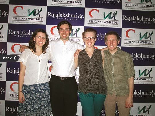 Left to right: Wesson '14, Summers '15, Balckburn '15, and Stewart '14 at Chennai Worlds 2014 (Photo Credit: BQDC).