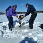 Lake sediment coring on Taylor Pond