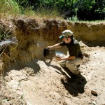Jon Duchette collecting sediment  samples.