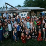 Community members of Dancing Rabbit Ecovillage gather for a summer party. Photo credit: Ryan Mlynarczyk