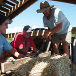 Buiding a straw bale house.