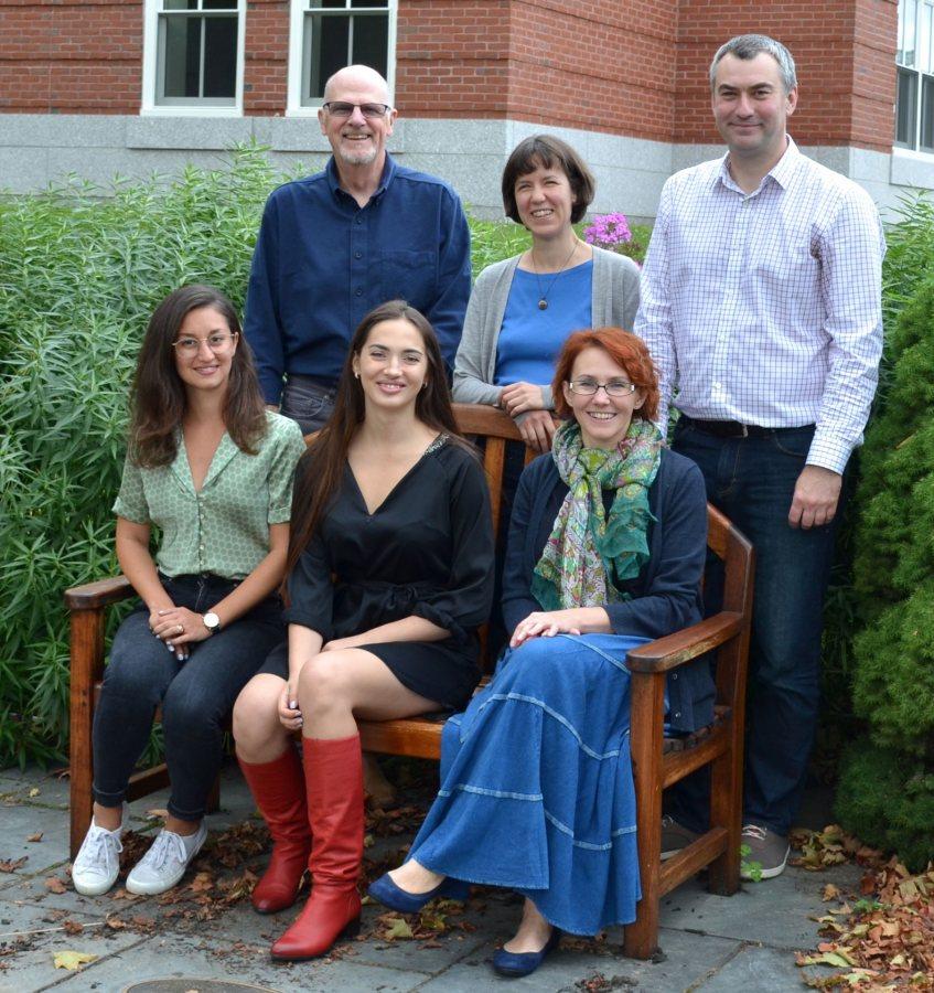 GRS Faculty in 2019-2020. Standing, from left: Dennis Browne (Russian), Raluca Cernhahoschi (German), and Jakub Kazecki (German). Sitting, from left: Alexandra Efstathiades (German), Alina Popova (Russian), and Marina Loginova (Russian).