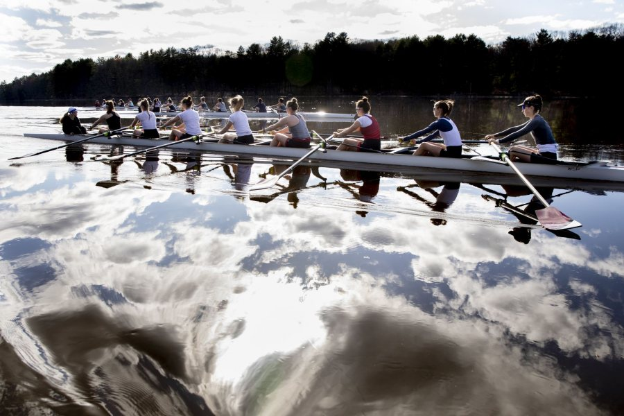 """Rowing teams at practice. batescollege's profile picture batescollege Verified Liked by mjmilliken and batescollege's profile picture batescollege Verified """"It's a dream."""" . — Peter Steenstra, head rowing coach at Bates, says of the stretch along the Androscoggin River in Greene that Bates rowers call home. . This afternoon afforded the men's and women's teams delightful conditions in which to practice for Sunday's upcoming President's Cup, the signature home regatta hosted by Bates with Bowdoin and Colby."""