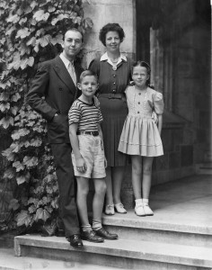 Charles and Evelyn Phillips with their children, Charles Jr. and Carol Ann, in 1944, the first year of his presidency.
