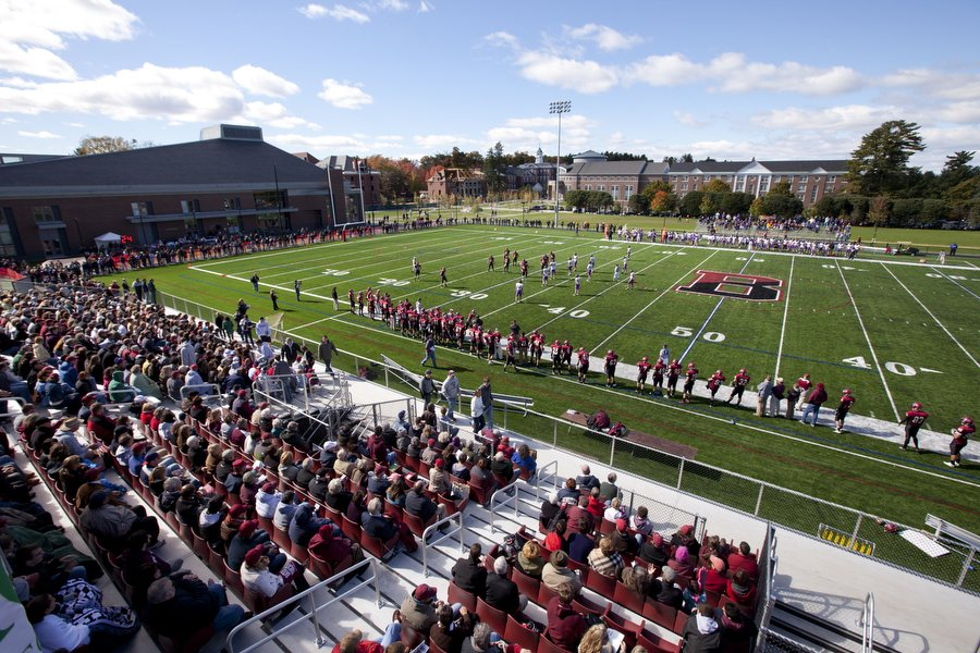 """With the Garcelon Field upgrade, our game-day atmosphere is the best in the NESCAC."" — Mark Harriman, head coach, football (Phyllis Graber Jensen/Bates College)"