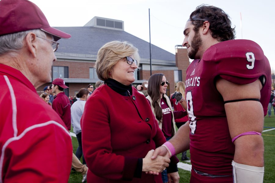 """I think the Garcelon Field donors made an important gift to the future of the college — for the success of Athletics and to create the best possible experience for our student-athletes, parents and alumni."" — Mark Harriman, head coach, football (Phyllis Graber Jensen/Bates College)"
