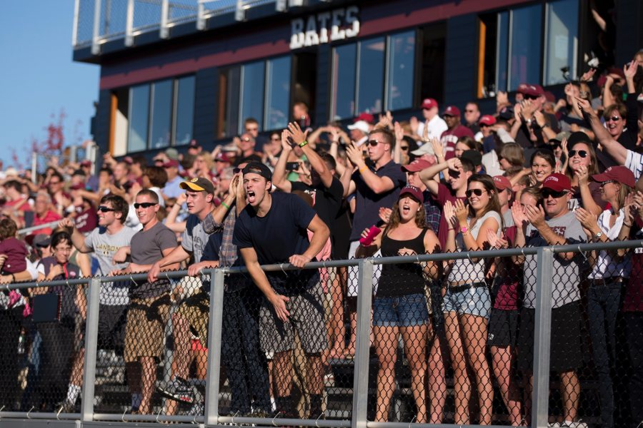 "Whenever my friends from other schools come to watch a game at Bates, they say, ""Wow! This place is crazy."" The fans are always into the game. The field is beautiful. The whole atmosphere of Garcelon makes it an awesome place to play football. — 2014 senior co-captain Larry Guinee '15 of Peabody, Mass. (Phyllis Graber Jensen/Bates College)"