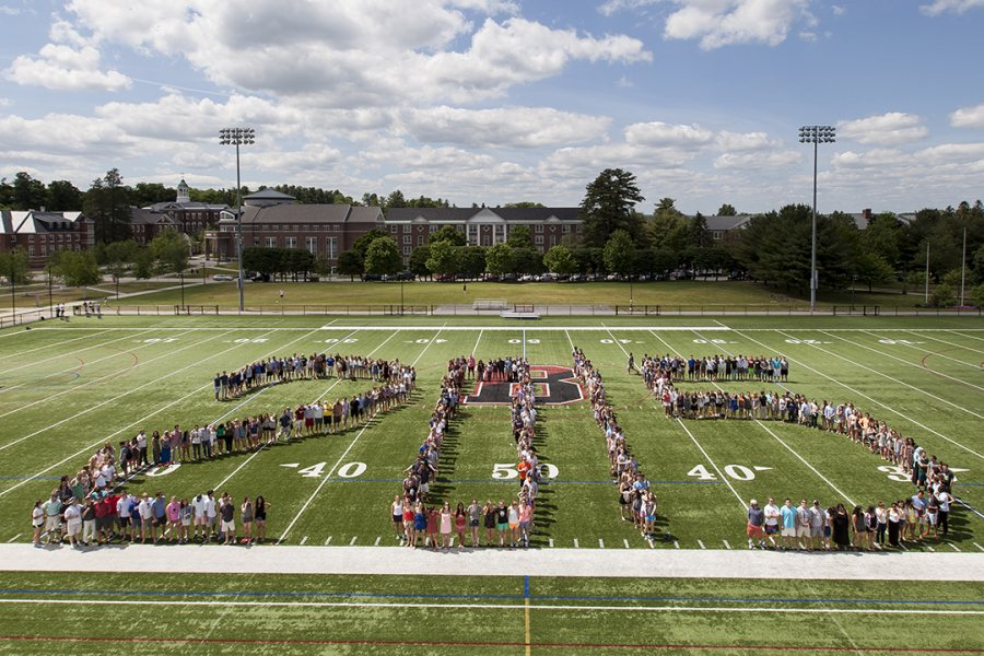Garcelon Field is the venue for the annual graduating class photo. (Josh Kickers/Bates College)