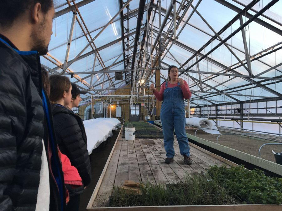 Students in Community-Engaged Research in Environmental Studies listen to Whiting Farm Director Kim Finnerty as they prepare for a semester-long feasibility study of a solar panel installation at the farm.