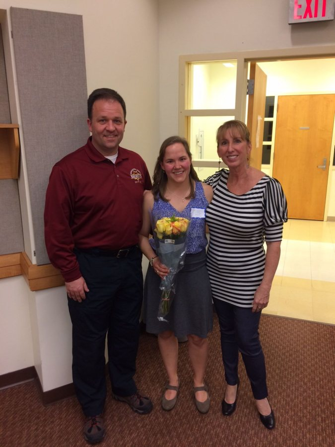 Katie Stevenson '17, with Catherine Ryder Executive Director of Tri-County Mental Health Services, and Androscoggin County Sheriff Eric Samson. Katie researched rates of mental illness among individuals incarcerated in the Androscoggin County Jail.