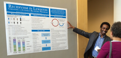 Ahmed Sheikh '17, discusses research on re-entry programs for juveniles in the Maine correctional system, conducted to support an initiative by Maine Immigrant and Refugee Services (MIRS).
