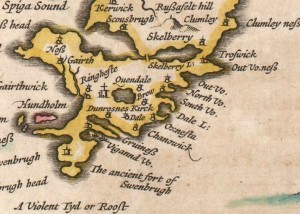 "Broo (""Brow"", center) in 1654 (Blaue & Blaue 1654)."