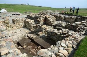 Excavation of the buried Broo Site II buildings 2013.