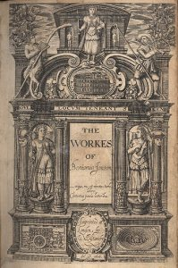 Jonson_1616_folio_Workes_title_page