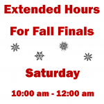 Extended Hours this Saturday!