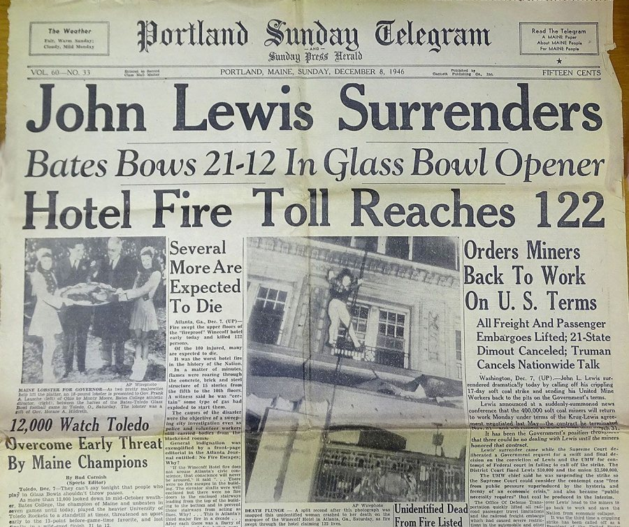 The front page of the Dec. 8, 1946, Portland Sunday Telegram features the Glass Bowl result between two other major stories of the day.