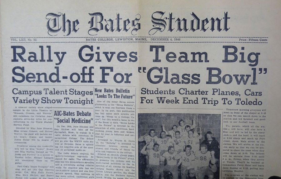 The Dec. 4, 1946, issue of The Bates Student gave support for the Bobcats heading to Ohio for the Glass Bowl.