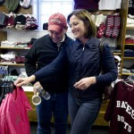 Enjoying their seventh Parents & Family Weekend, Frank and Susan Judice, parents of Elyse Judice '10 and Sarah Judice '06, shop for clothing in the campus store.