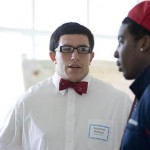 Sebastian Pedraza '11 explains his genetic research to Frankie White '11.