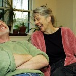 Elaine and Stan Hansen share a laugh at home at Haverford