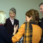 After her Jan. 26 election to the Bates presidency, Hansen greets Karen Harris '74 (left) and James and Ann Orr P'94. Harris and James Orr chaired the Trustee search committee