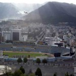 Every few minutes, airplanes fly over the modern sector of the city, including the Olympic Stadium, to land at Quito's international airport.
