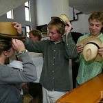 CBB students inspect Panama hats purchased during a weekend excursion to the colonial city of Cuenca.