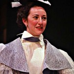 Mrs. Erlynne (Julie Hammond '03) in Lady Windermere's Fan by Oscar Wilde.  Directed by Paul Kuritz.  Set and costume design by Ellen Seeling.  November 2002, Gannett Theater.
