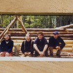 Friendships built at Bates were renewed at the barn-raising and wedding. This photograph is of a 1999 picture showing, from left, classmates Ayers, Brad Morse, Erik Thomson '99, and John MacKay 99 during a Short Term project to build a lean-to for the Outing Club in land in Greene owned by longtime BOC adviser Judy Marden '66.
