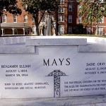 "In 1995, the bodies of Mays and his wife, Sadie Gray Mays, were disinterred from an Atlanta cemetery and reinterred at the Morehouse memorial. His inscription reads, ""Born to rebel against ignorance, oppression and social injustice."" Hers reads, ""She had special concern for the young, the aged, the disadvantaged, the poor. She did what she could to help them."""