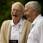 Richard West '53 and Bill Wyman '53 chuckle together before the Alumni Parade.