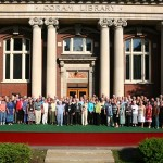 Members of the Class of 1958 pose in front of Coram Library for their 50th Reunion photo.