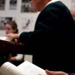 Bates College, 9:47 a.m.  INTO THE WOODS As a student follows along in the text (foreground), Gwen Lexow, lecturer in history, leads a first-year seminar at Moody House on the culture spawned by Henry David Thoreau's 1854 classic Walden; Or, Life in the Woods. Lexow is also Bates' softball coach.   Photo by Lincoln Benedict '09
