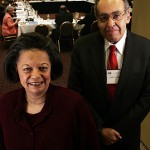 New York City, 9:47 a.m.   DUAL OF LAW At a Manhattan hotel, NAACP Legal Defense Fund board secretary James M. Nabrit III '52 and fellow board member Karen Hastie Williams '66 take a quick break from the group's annual meeting. Nabrit is a former LDF litigator; Williams is a retired partner in the Washington law firm of Crowell & Moring LLP.   Photo by Michael Appleton