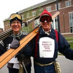 Grant Reynolds '57 (left) and Lori Beer '58 celebrate the founding of the first intercollegiate Bates ski team 50 years ago. With several others, the pair raced mostly against other Maine colleges.