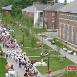 After rounding Parker Hall, the Alumni Parade comes down Alumni Walk for the very first time.