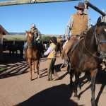 Guests depart for the morning ride at the Laramie River Dude Ranch. Photograph by Shauna Stephenson.