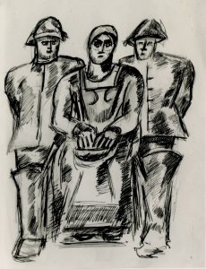 Untitled, Two Fishermen and Woman, ca. 1938-39. Gift of Norma G. Berge