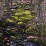 Neil Welliver,  Light in Brook,  1985, oil on canvas, Gift of Dorothy Stiles Blankfort '31