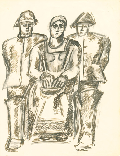 Marsden Hartley, [Study for The Lost Felice], ca. 1938, black and brown ink with graphite under drawing on paper, 10 3/8 x 7 7/8 inches