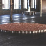 Amy Stacey Curtis, Modulation I 2,304 aluminum cans and 4-color prints, audience, 2004, Courtesy of the artist