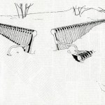 Rachel Kaplan,  Snow Benches,  ink drawing