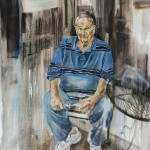 Jessica Kase, Seated Man with Blue Shirt, oil on canvas