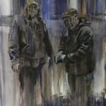 Jessica Kase, Two Men Working, oil on canvas