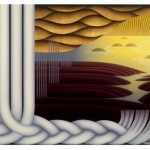 Organic, oil, bronze leaf on canvas, 36x46 inches, 2005