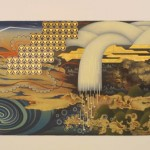 Cooling Trend, oil, bronze leaf on paper, 52.5 x 96 inches, 2001